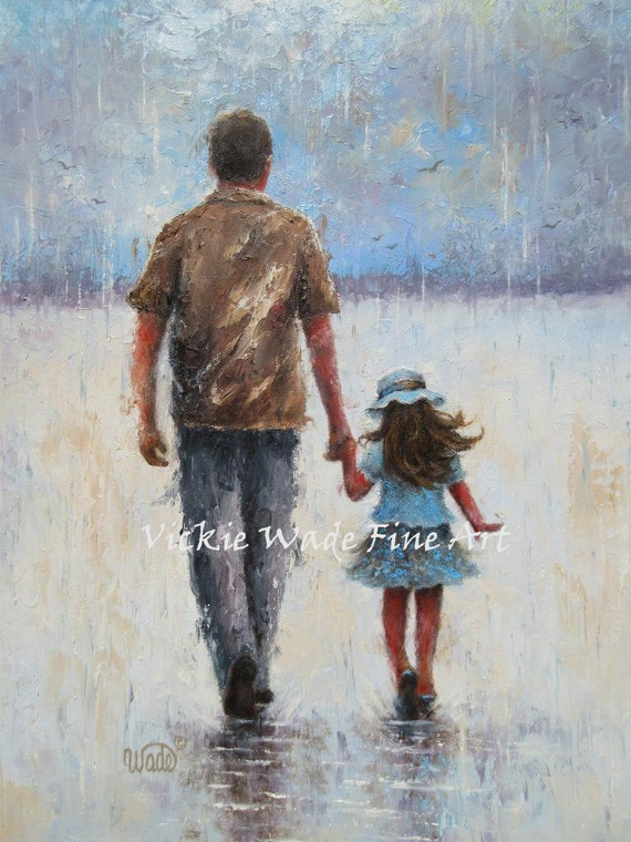 Father And Daughter Art Print Dad Daughter Paintings Walking