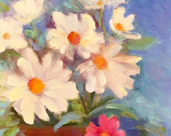 """Still Life Painting, Gift for Her, White Daisies Spring Flowers 6 x 6"""" Original Small Oil Painting by Tina Wassel Keck Oil on canvas panel"""
