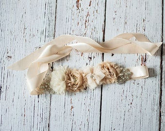 Rustic Bridal Sash, Bridal Belt, Champagne Bridal Sash, Bridesmaid Sashes,Tan Bridesmaid Sash/Belt, Flower Girl Sash, Flower Girl Belt