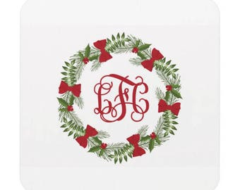 Personalized Christmas Coasters Hostess Gift Wreath Coasters Custom Bar Coasters Drink Coasters Co worker Gift