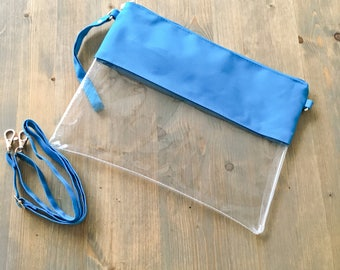 Clear Stadium Bag with BLUE Trim and Monogram