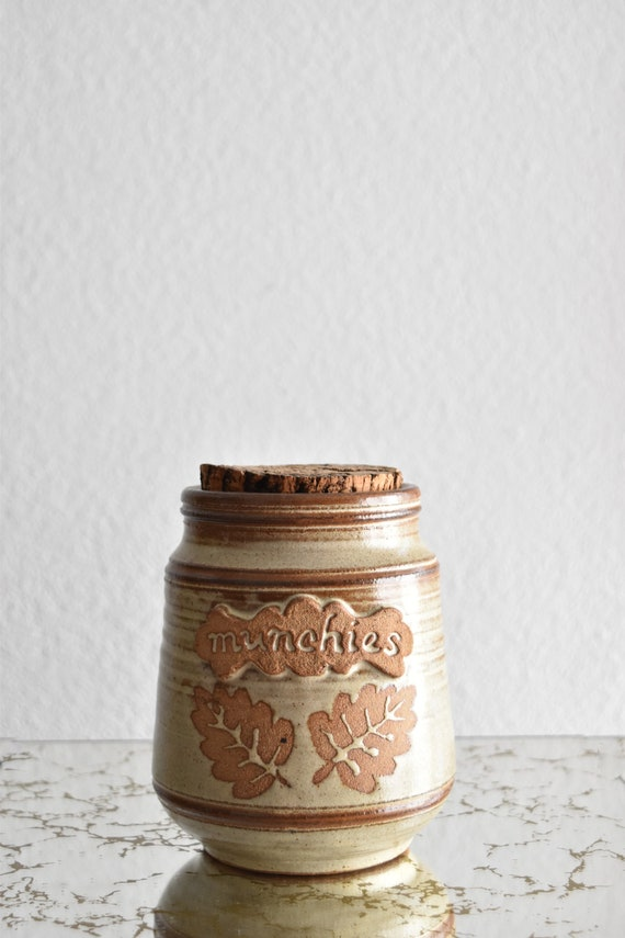 earthy stoneware cookie jar with cork lid / candy dish