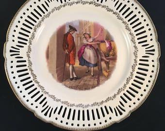 "Schwarzenhammer Bavaria 'Cries of London- ""Fine black cherries"" ' reticulated plate"