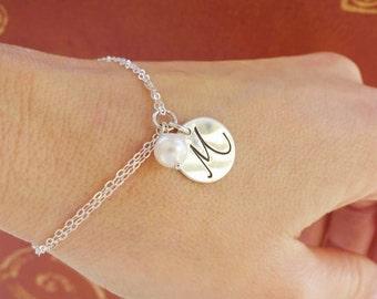 Bridesmaid gift, Sterling Silver initial bracelet, Personalized bridesmaid jewelry, script font, pearl bracelets,otis b