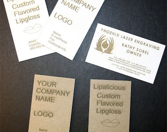 Package of 100 Custom Laser Engraved Business Cards on Medium Weight Chipboard