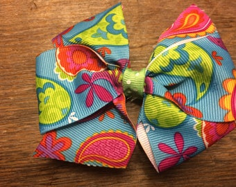 Floral and Paisley Hair Bow