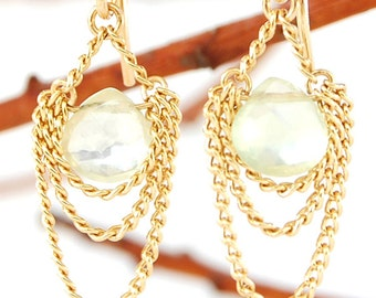 Prehnite Earrings, Prehenite Earrings, Garnet Earrings, Gold Garnet Earrings, 14 Karat Gold Chain Earrings, Gold Layered Chain Earrings
