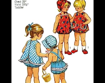 SIMPLICITY 9994 Sewing Pattern PLAYSUIT Ruffled Romper Bonnet Hat Kids Child Girls Sunsuit Play Suit *REPRODUCTION* Toddler pk ~6mths~1~2~4~