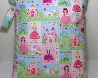 "Large wet bag. 13"" X 16"". Princess print .Heat sealed seams. Ready to Ship"