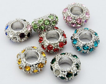 Pack of 10 Antique Silver Designed Rhinestone Resin Charm Beads For Charm Bracelets