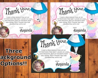 Alice in One-derland Thank You Card - 3 Backgrounds! - Any Color! - With or Without Photo!!