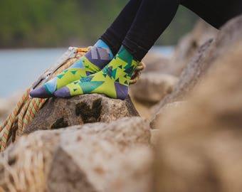 Over the hills socks | men socks | colorful socks | cool socks | mismatched socks | crazy socks | patterned socks | hills and forrest