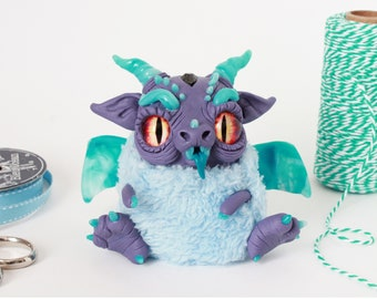 Spike the furry dragon - polymer clay plush fantasy creature figurine
