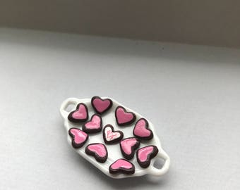 "1"" or 1/12 Scale Miniature Tray of Heart Cookies"