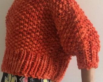 Handmade Chunky Woollen Knitted Jumper : Orange