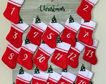Advent Calendar - Christmas Countdown -Stocking Advent Calendar - Countdown to Christmas