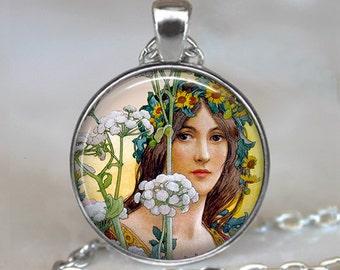 Art Nouveau Flower Fairy necklace, flower fairy pendant fairy jewelry Art Nouveau necklace, Art Nouveau pendant key chain key fob key ring