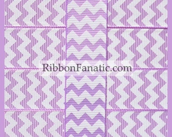 "5 yds 7/8"" Lavender Purple and White Chevron Striped Grosgrain Ribbon"