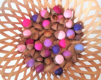 Wool felted acorns, handmade natural ornament, eco friendly rustic gift autumn fall decor colours, pinks purples mauves, set of 25 available