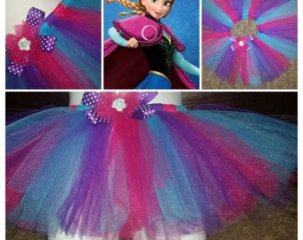 Our 'A n n a'  inspired tutu skirt...layers of turquoise,purple and hot pink tulle~princess skirt~toddler tutu skirt~baby tutu skirt~disney