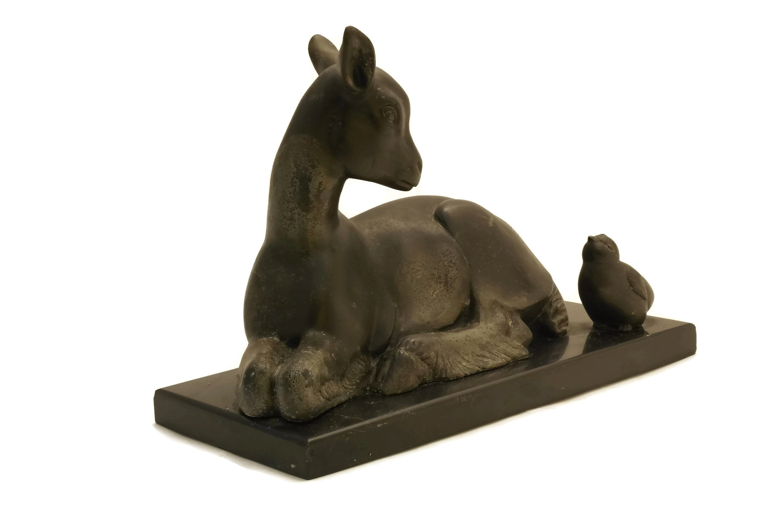 French Art Deco Animal Statue With Lamb And Chick Figurines Newborn