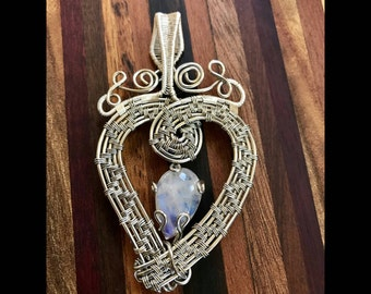 Silver Wire Heart With Moonstone