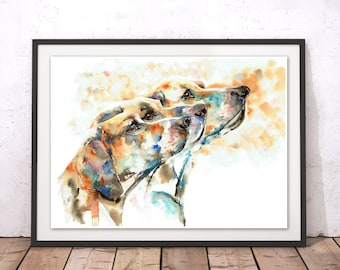 Hounds Print, Dog Print, Hounds Wall Art, Dog Poster, Dog Painting, Hounds Wall Hanging, Dog Gift, Hounds Gift by Liz Chaderton