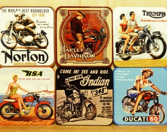 Set of 6 coasters - 95mm Square MDF - Vintage Motorcycles - Triumph, Ducati, BSA, Harley