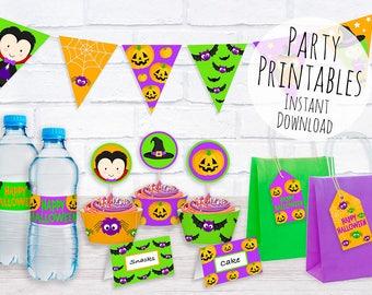 Halloween Party Printables, Halloween Decorations, Halloween Party Kit, Print at Home Party Decorations, Halloween Bunting Printable