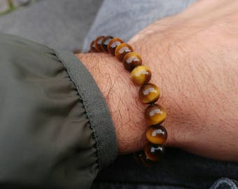 Mens Tiger Bracelet , Tiger Eye Stone Jewelry Bracelet Gift for Him made in England by Kolezi Bros