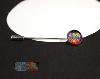 Cloth Needle, Scarf Needle, Cloth, Scarf, Brooch, Pin, Needle, silver,butterfly, 141