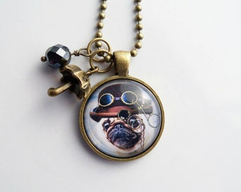 Steampunk Dog Necklace - Dog Pendant -  You Choose Bead and Charm - Custom Jewelry - Fancy British Dog with Monocle - Animal  Pet Jewelry