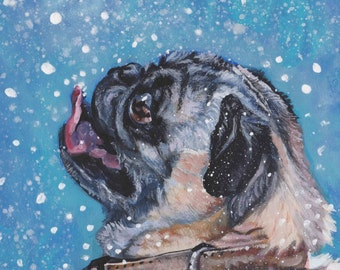 "fawn PUG dog ART portrait canvas PRINT of LAShepard painting 8x8"" xmas snow"