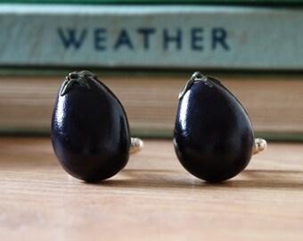 By the Shed Aubgerine Purple Cufflinks - Rhodium Plated - Allotment - Vegetarian - Gardening - Vegetable - Mediterranean - Gift Present