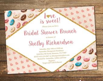 Bridal Shower Invitation, Bridal Shower Brunch, Donuts, Love is Sweet, Retro Bridal Shower (PRINTABLE FILE)