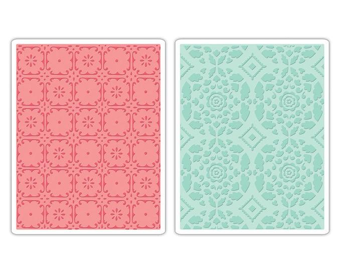 Sizzix Textured Impressions Embossing Folders 2PK - Fleur Tile & Kaleidoscope Crescents Set 657397