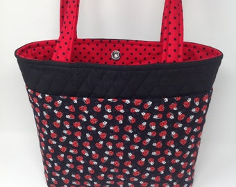 Quilted Lady Bug Four Pocket Tote Bag