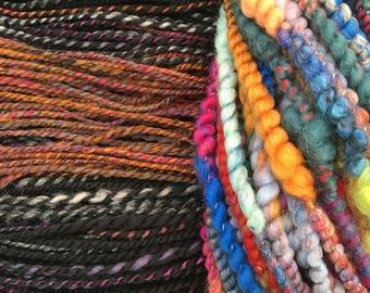 Handspun Artyarn combo set  - 120g of handspun yarn and 60g of artyarn
