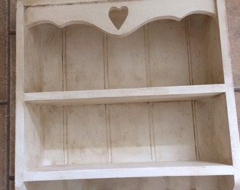 Country cottage/ shabby chic style wall shelf/rack with pegs. Brand new, handmade from solid pine.