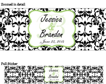 50 Custom Glossy WATERPROOF Wedding Water Bottle Labels - many designs to choose from - change designs to any color, wording, etc WW-054