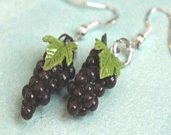 grapes earrings- food jewelry, fruit earrings