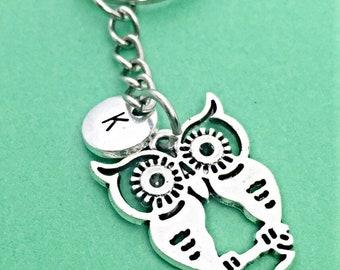Silver owl keychain, owl charm, bird keychain, bird charm, personalized keychain, owl keychain, initial keychain, custom, monogram, owl gift