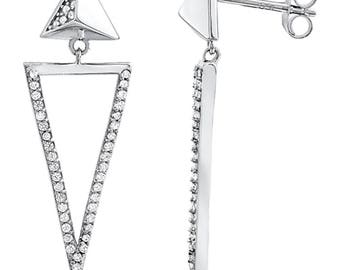 Silver and Post Women's Sterling Silver CZ Dangle Earrings, High Quality Design, Bamboo Gift Box Included
