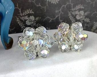 Vintage 1950's Beaded Crystal AB Flower Clip On Earrings