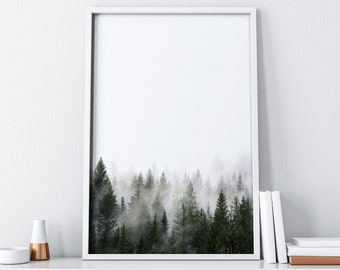 Green Forest Scandinavian Print Instant Download| Minimalist Nature Photography Print Digital Download| Mid Century Modern Art Wall Decor