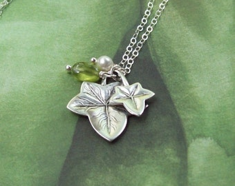 Ivy Leaf Necklace, Silver Ivy Necklace, peridot, grape leaves, english ivy, sterling silver, matte silver, fall fashion