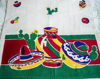 Vintage Startex Mexican Kitchen Towel Pottery Sombrero Cactus