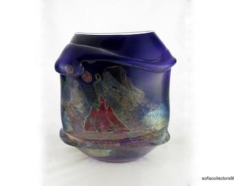 "Chris Hawthorne ""Tidepool Refuge"" Series Vessel - Museum Quality Vintage Studio Art Glass"