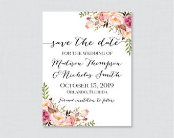 Save the Date Magnets - Pink Floral Save the Date Magnets for Wedding - Rustic Pink Flower Wedding Save the Date Fridge Magnets 0004