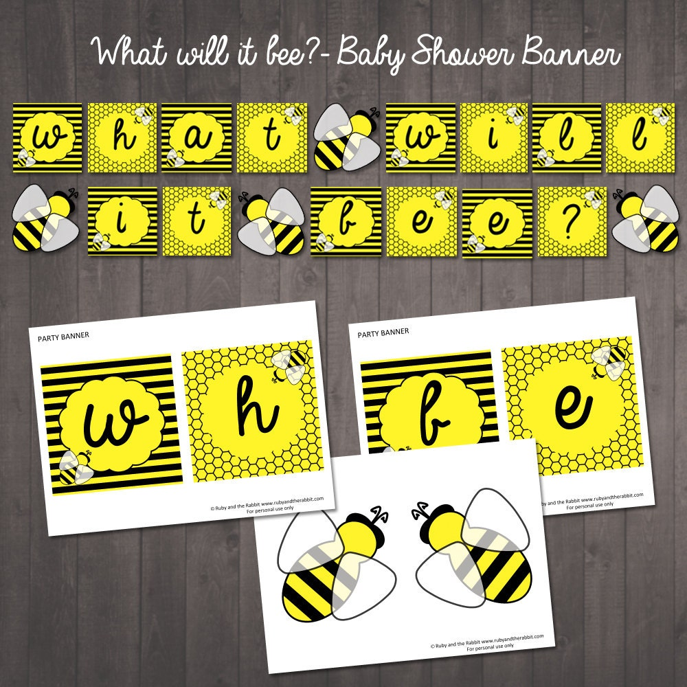 PRINTABLE What Will It Bee Banner Gender Reveal